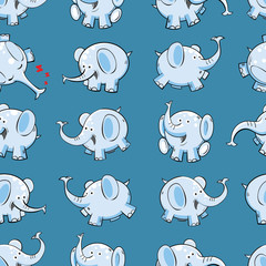 Vector seamless pattern with funny cartoon elephants on  blue background.