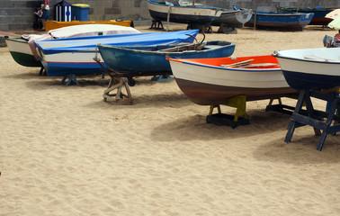 local fishing boats  beach Playa de las Canteras Grand Canary Is