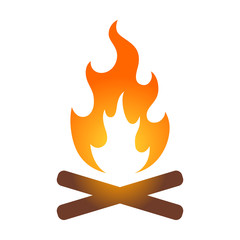 Colorful campfire / bonfire icon for travel apps and websites