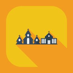 Flat modern design with shadow icons church