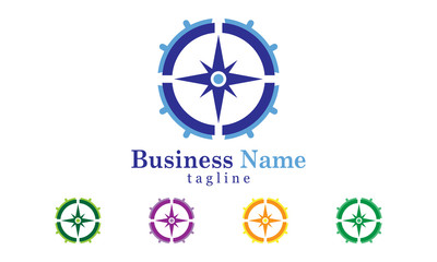 Compass Logo Vector With Five Color Options