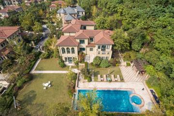 aerial view of modern villas