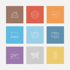 Outline icon colorful set in flat style