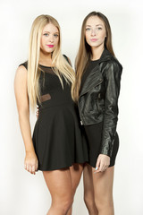 Couple Young Attractive Girls in Black