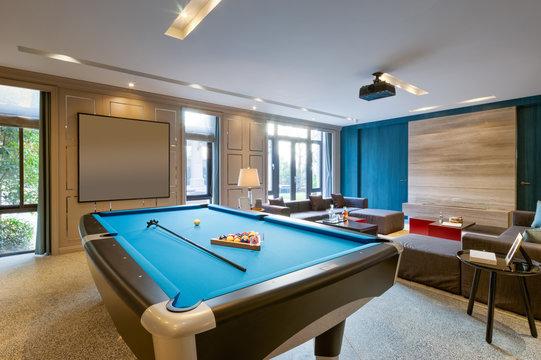 interior of luxury recreation room