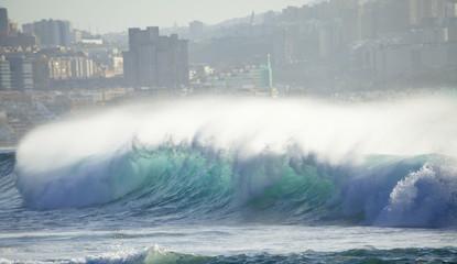 powerful breaking waves