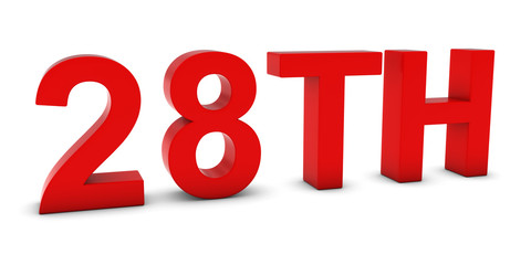 28TH - Red 3D Twenty-Eighth Text Isolated on White