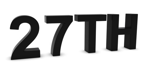 27TH - Black 3D Twenty-Seventh Text Isolated on White