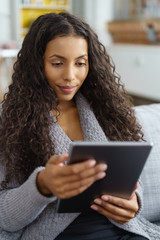 frau liest zuhause am tablet-pc