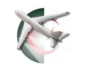 Plane and Algeria flag.