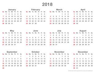 2018 calendar simple sundays first, format long