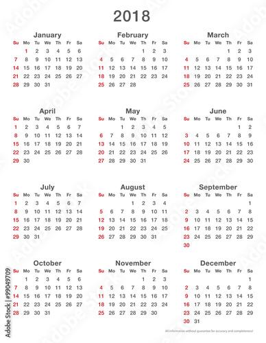 Quot 2018 Calendar Simple Sundays First Format High Quot Stock