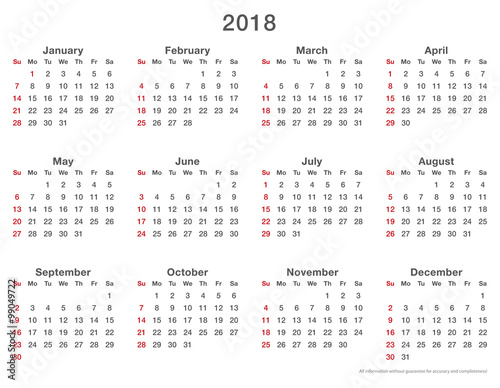 2018 Calendar Monday First 2018 New Year Images