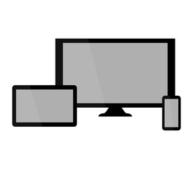 computer and mobile phone on white background