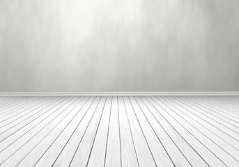 3D white timber floor