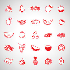 Thin Line Fruits Icons Set - Isolated On Background - Vector Illustration, Graphic Design. For Web, Websites, Print, Presentation Templates, Mobile Applications And Promotional Materials