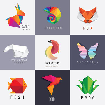 Abstract colorful vibrant animal logos design set collection. Rabbit, chameleon, red fox, polar bear, parrot, butterfly, fish, bird and frog designs
