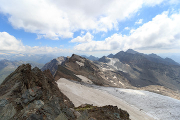 Glacier panorama with mountain Großer Hexenkopf and Hocheicham in Hohe Tauern Alps, Austria