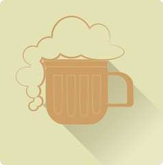 Beer icon. Orange mug of beer with foam, a shadow on a beige background, with a thin white outline, hand drawing, vector