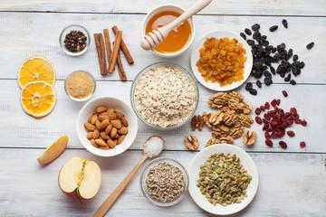 Grain free oat free paleo granola: mixed nuts, seeds, raisins, h