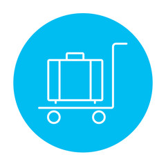Luggage on trolley line icon.