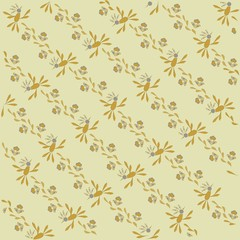 The sloping background, floral. Orange, blue and leaves, khaki thin outlines on a beige background, pastel colors, hand drawing, vector