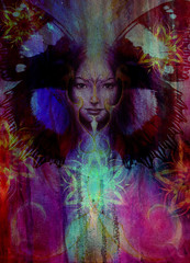 Beautiful Painting Goddess Woman with bird phoenix on your face with ornamental mandala and butterfly wings and color abstract background  and eye contact, copy space.