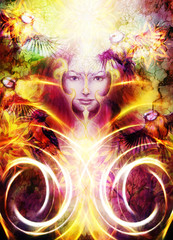 Beautiful Painting Goddess Woman with ornamental mandala and color abstract background  and bird with fire.