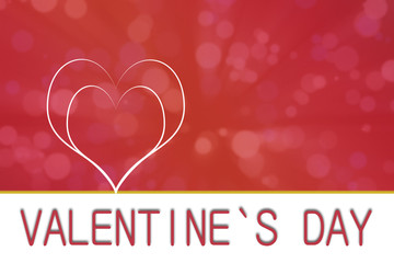 Valentine`s day heart on red and pink effect background with copyspace