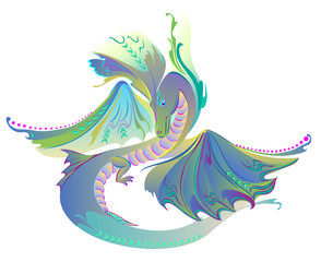 Illustration of fantastic fairyland dragon, vector cartoon image.
