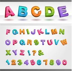 カラフルな3Dテキスト-アルファベット大文字