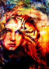 painting mighty tiger head on ornamental background and mystic woman face, computer collage.  wall structure.