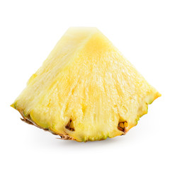 Fresh pineapple slice isolated on white. With clipping path.