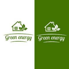 Green energy, eco house design. Flat icon. Vector illustration.