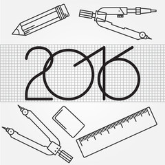 2016 and Drawing tools thin line icon set for web and mobile,  m