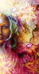 Beautiful Painting Goddess Woman with ornamental mandala and color abstract background  and bird.