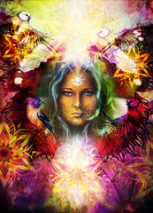 Beautiful Painting Goddess Woman with bird and ornamental mandala and butterfly wings and color abstract background  and eye contact.