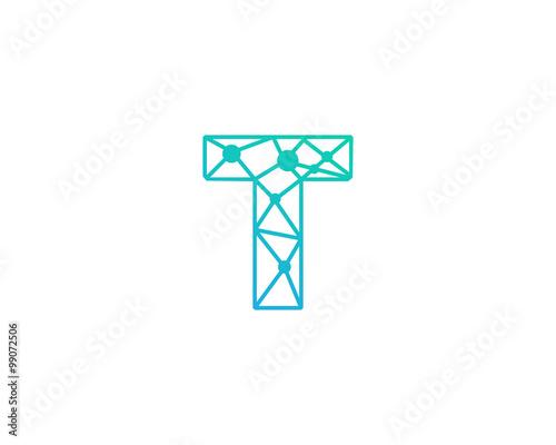 connect line letter t logo design template element