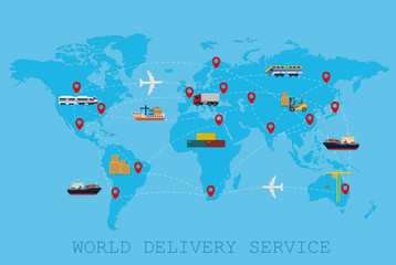 Global Logistic, shipping and service worldwide delivery world map concept