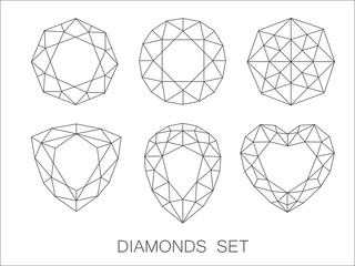 Elegant thin line diamonds icons logo set. Vector illustration
