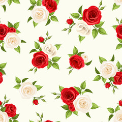 Vector seamless pattern with red and white roses and lisianthus flowers and green leaves on a white background.