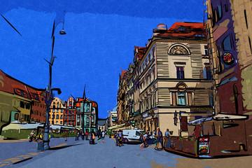Fond de hotte en verre imprimé Londres bus rouge Wrocław city miasto retro vintage