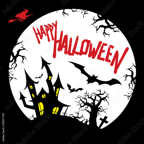 Happy Halloween Card Design With Haunted House, Graveyard, Bats, Dead Tree,  Flying