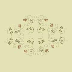 Floral pattern, ornament on a beige background, orange flowers, leaves are khaki, black outline, line, vintage, design element vector