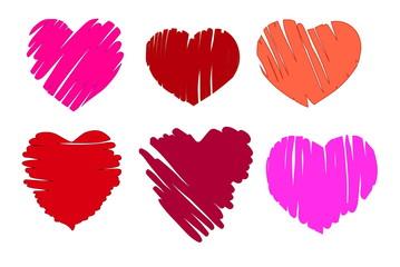 illustration of six different handwritten hearts