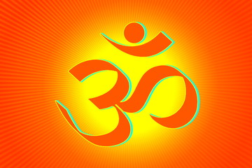 om religious symbols and meditating healing background