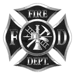 Fire Department Cross Silver Engraving is an illustration of a firefighter cross in silver engraved style with fireman tools including ax, hook, ladder, hydrant, nozzle and firefighters helmet.