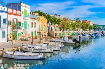 Anblick Hafen Idylle Boote Häuser Mediterran