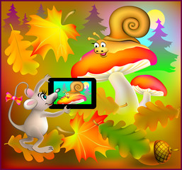 Mouse photographs the snail, vector cartoon image.