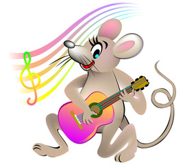 Mouse playing a guitar, vector cartoon image.